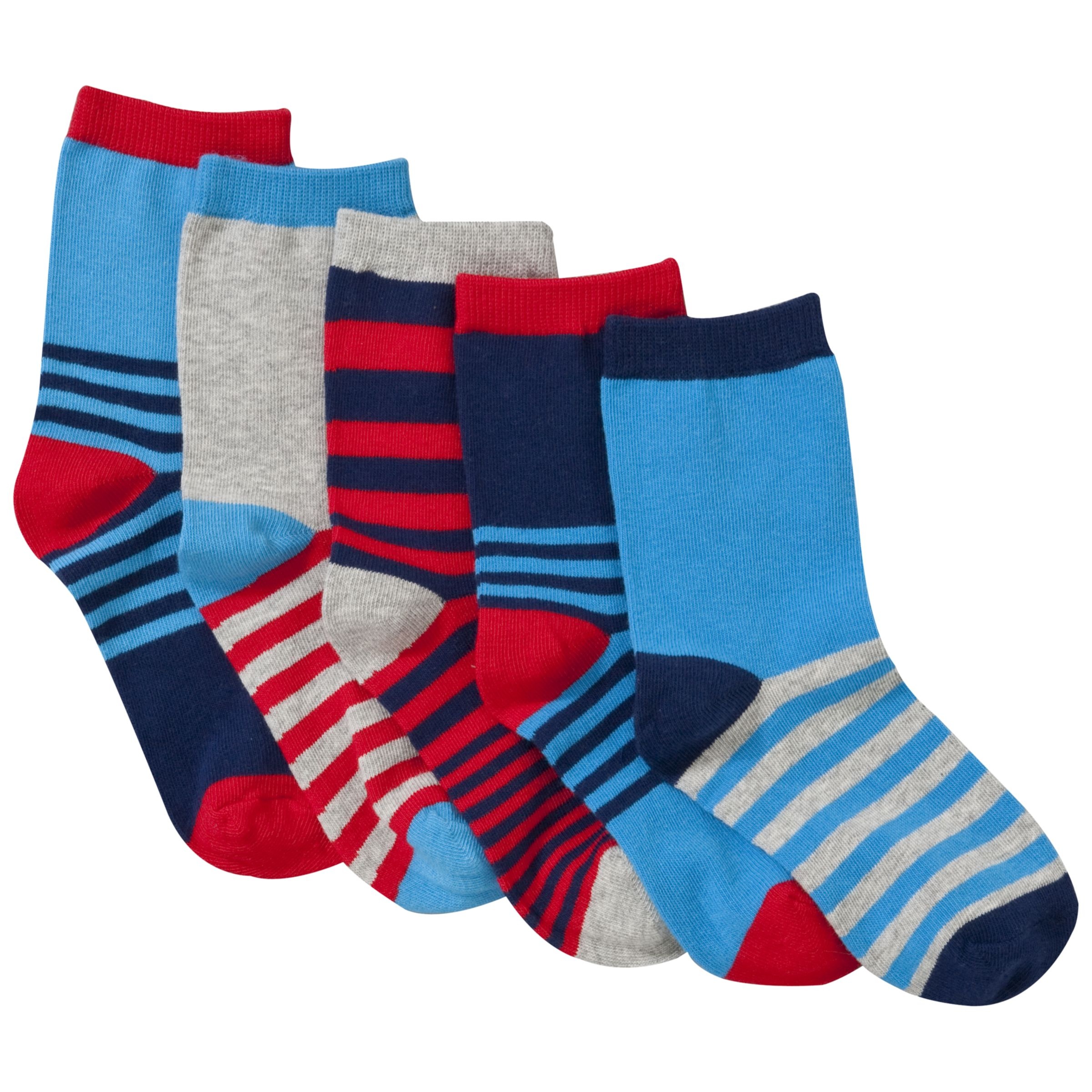 John Lewis Boy Bright Socks, Pack of 5, Nautical