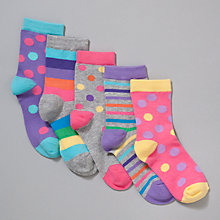 Buy John Lewis Girl Spot and Stripe Socks, Multi Online at johnlewis.com