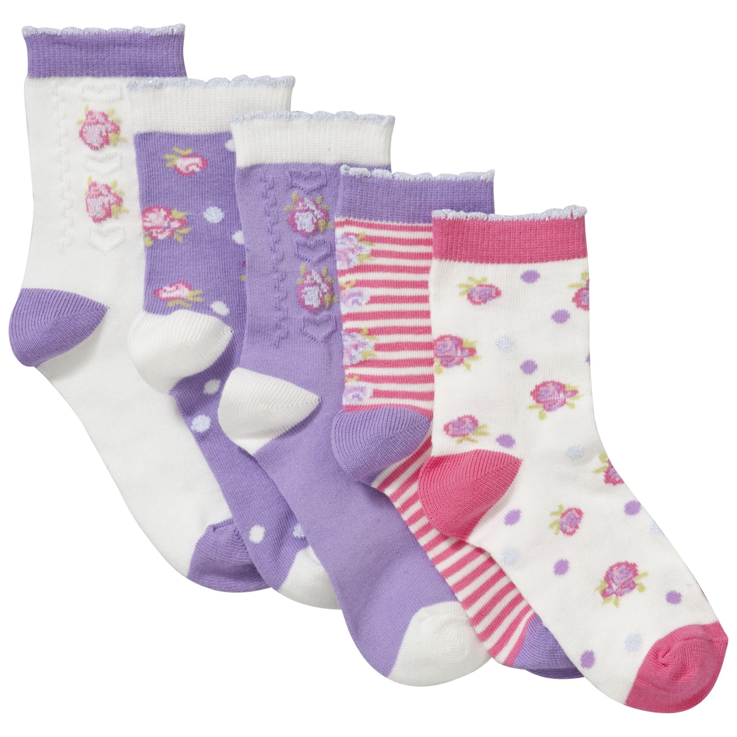 John Lewis Girl Vintage Flower Socks, Pink/Purple