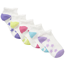 Buy John Lewis Girl Trainer Socks, Pack of 5, Brights Online at johnlewis.com