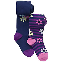 Buy John Lewis Girl Bold Flower Tights, Pack of 2, Blue/Purple Online at johnlewis.com