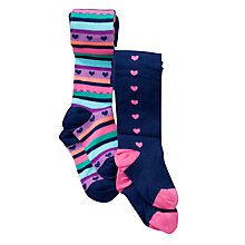 Buy John Lewis Girl Heart Tights, Pack of 2, Multistripe Online at johnlewis.com