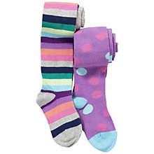 Buy John Lewis Girl Spots and Multi Striped Tights, Pack of 2, Purple Online at johnlewis.com