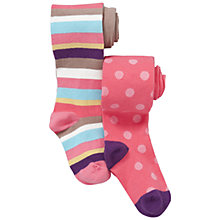 Buy John Lewis Girl Striped and Spotted Tights, Pack of 2, Coral Online at johnlewis.com