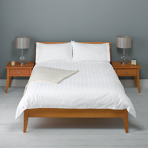 Buy John Lewis 600 Thead Count Satin Stripe Duvet Cover and Pillowcase Set, White Online at johnlewis.com