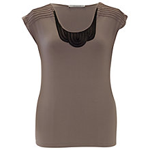 Buy Chesca Satin Trim T-Shirt, Sand Online at johnlewis.com