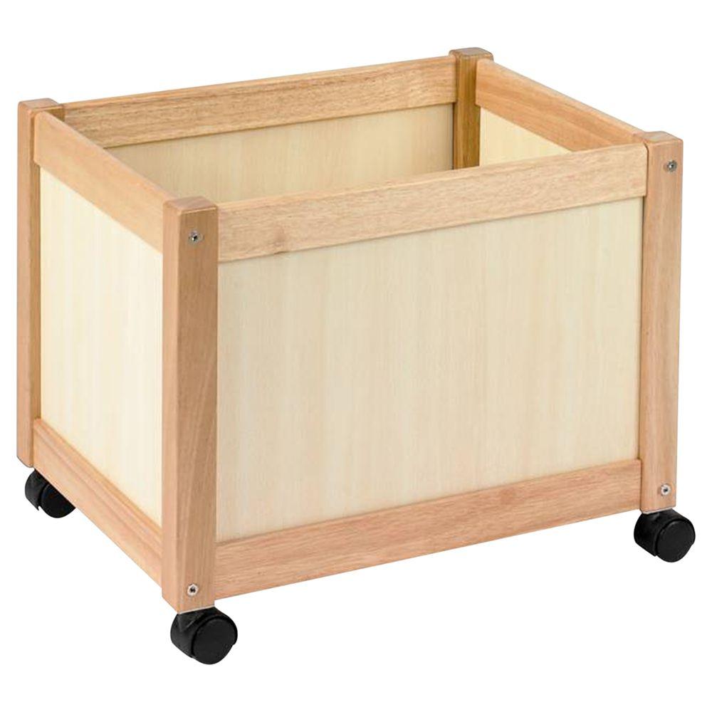 John Crane John Crane Multi Storage Bin on Wheels, Natural Wooden
