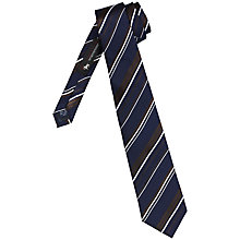 Buy Chester by Chester Barrie Stripe Tie, Navy/Brown Online at johnlewis.com