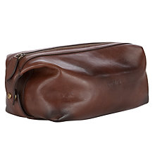 Buy Polo Ralph Lauren Leather Wash Bag, Brown Online at johnlewis.com