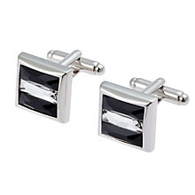 Buy Simon Carter 3 Bar Crystal Cufflinks, Black Online at johnlewis.com
