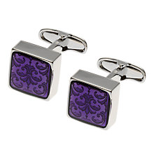 Buy Denison Boston Mindy Floral Cufflinks, Purple Online at johnlewis.com
