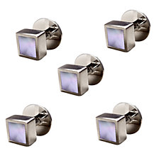 Buy Denison Boston Mindy Mother of Pearl Dress Studs, White Online at johnlewis.com