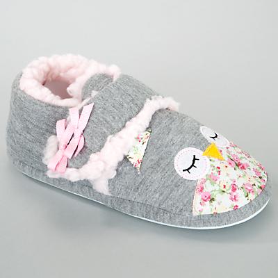 John Lewis Girl Owl Slippers, Grey