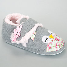 Buy John Lewis Girl Owl Slippers, Grey Online at johnlewis.com