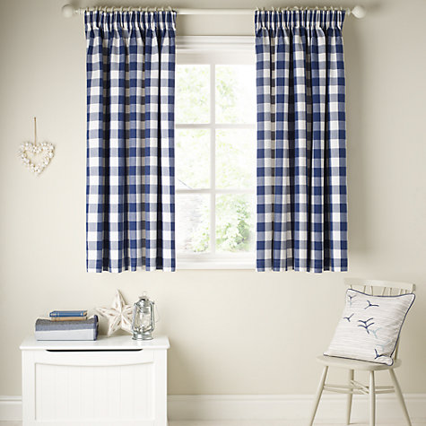Buy John Lewis Large Check Lined Pencil Pleat Curtains, Navy Online at johnlewis.com