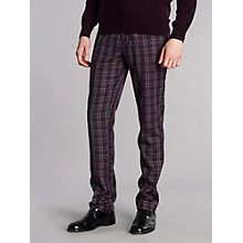 Buy Merc Johnson Tartan Slim Fit Trousers, Red Online at johnlewis.com