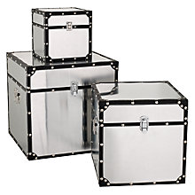 Buy John Lewis Square Storage Trunk, Silver Online at johnlewis.com