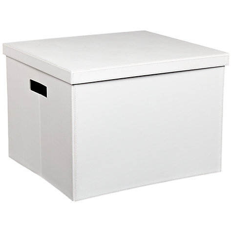 Buy John Lewis Faux Leather Foldable Storage Box, White Online at johnlewis.com