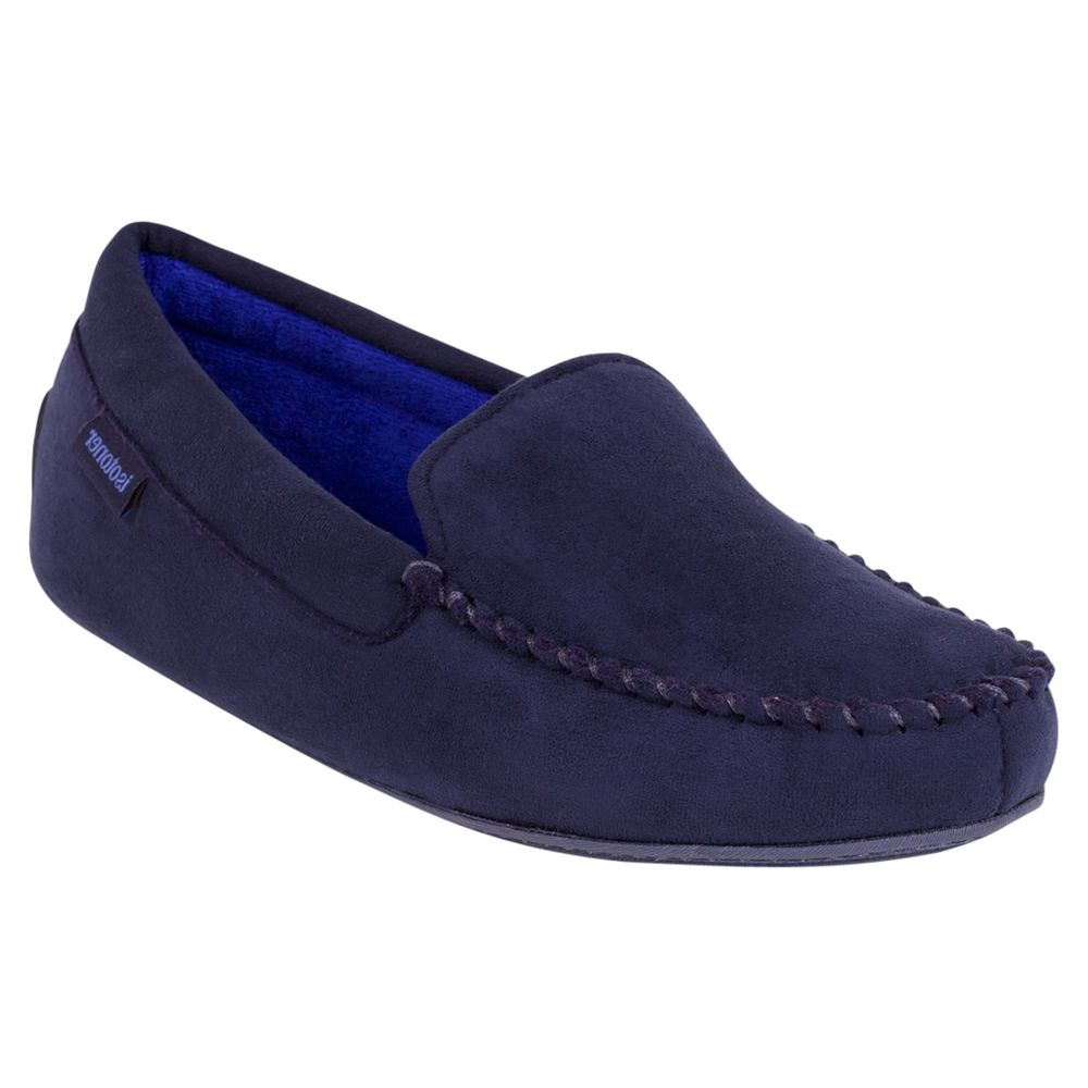 Totes Totes Suedette Moccasin Slippers, Navy