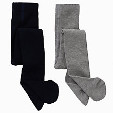 Buy John Lewis Plain Tights, Pack of 2, Navy/Grey Online at johnlewis.com