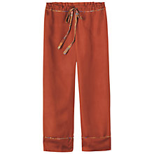 Buy Toast Antonia Silk Cropped Pyjama Trousers, Terracotta Online at johnlewis.com