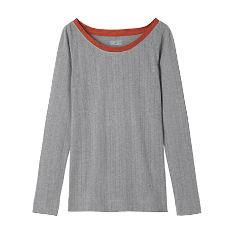 Buy Toast Antonia Silk Trimmed Pyjama Top, Grey Online at johnlewis.com