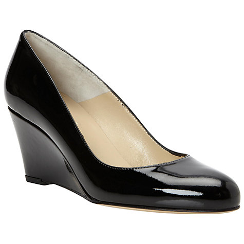 Buy Hobbs Tess Patent Leather Wedge Heel Court Shoes, Black Online at johnlewis.com