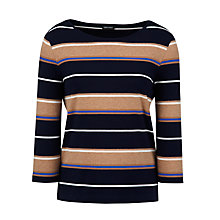 Buy Gerry Weber Stripe Top, Navy/Camel Online at johnlewis.com
