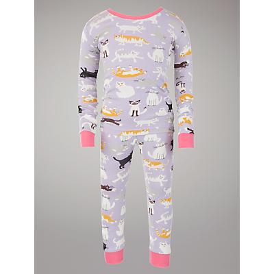 Hatley Cats Print Pyjamas, Lilac