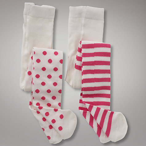 Buy John Lewis Spot and Stripe Tights, Pink/Cream Online at johnlewis.com