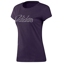 Buy Adidas Glitter T-Shirt, Dark Violet Online at johnlewis.com