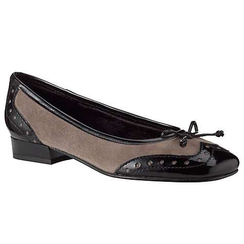 Buy John Lewis Lucera Suede Patent Trim Brogue Detail Ballet Pumps Online at johnlewis.com