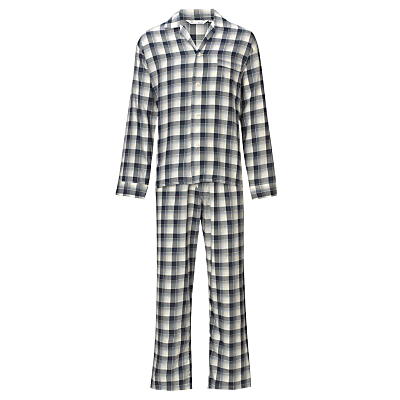 Derek Rose Brushed Pyjama Set, Navy/Yellow