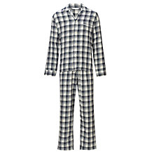 Buy Derek Rose Brushed Pyjama Set, Navy/Yellow Online at johnlewis.com