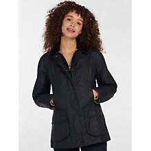 Buy Barbour Tartan Beadnell Waxed Jacket, Navy Online at johnlewis.com