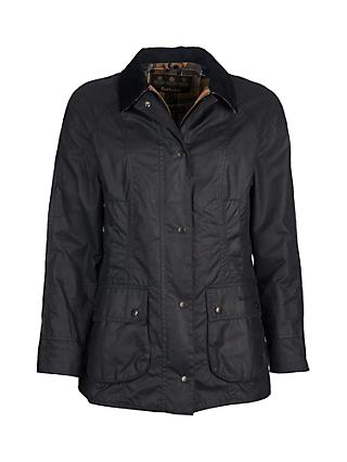 Barbour Tartan Beadnell Waxed Jacket, Navy
