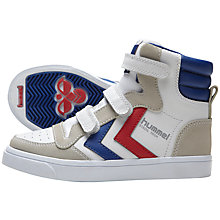 Buy Hummel Stadil Hi Top Junior Strap Trainers, White/Multi Online at johnlewis.com