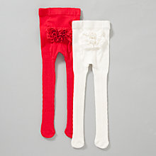 Buy John Lewis Cable Knit Tights, Red/Cream Online at johnlewis.com