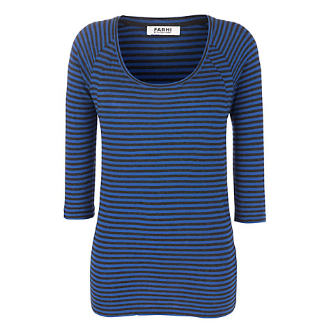 Buy Farhi by Nicole Farhi Dorothia Top, Atlantic/Charcoal Online at johnlewis.com