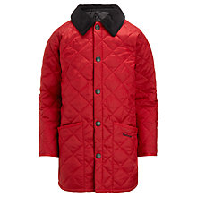Buy Barbour Boys' Liddlesdale Quilted Jacket, Red Online at johnlewis.com