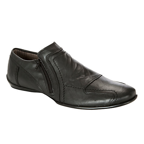 Buy Dune Bravo DM Side Zip Leather Shoes, Black Online at johnlewis.com
