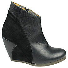 Buy Fly London Buda Suede and Leather Panels Side Zip Wedge Heel Ankle Boots, Black Online at johnlewis.com