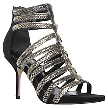 Buy Carvela Alesha Leather Strappy Snakeskin Stiletto Sandals, Black Online at johnlewis.com