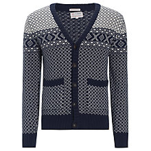 Buy KnowledgeCotton Apparel Fair Isle Crew Neck Cardigan, Navy/White Online at johnlewis.com