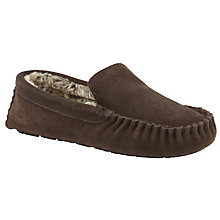 Buy John Lewis Alfie Faux Fur Moccasin Slippers, Brown Online at johnlewis.com