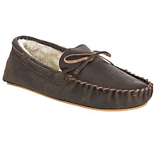 Buy John Lewis Distressed Leather Moccasin Slippers, Brown Online at johnlewis.com