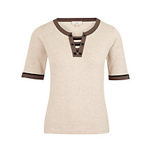 Buy CC Petite Contrast Tipped Insert Jumper, Oatmeal Online at johnlewis.com