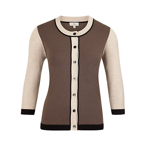 Buy CC Petite Tipped Cardigan, Pebble Online at johnlewis.com