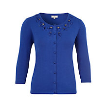 Buy CC Petite Satin Flower Trim Cardigan, Sapphire Online at johnlewis.com