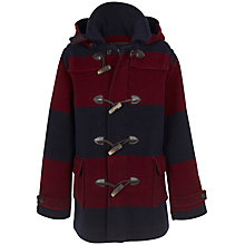 Buy Hackett London Striped Duffle Coat, Navy/Red Online at johnlewis.com
